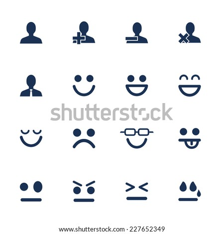 Set of flat icons for emotions and soial network communication - stock vector