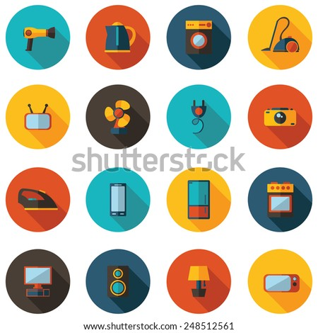 set of flat icons for household appliances
