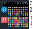 Set of flat icons for mobile app and web - stock vector