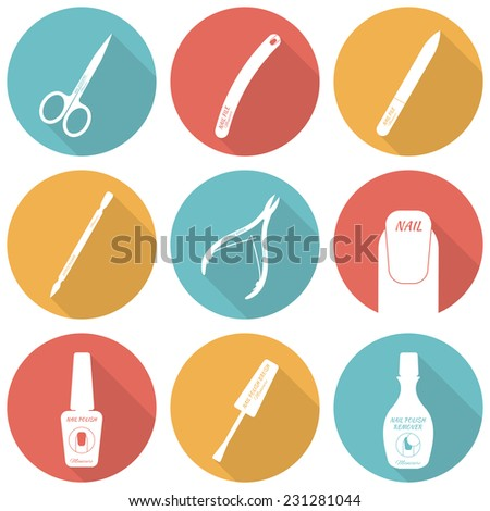 Set Flat Icons Accessories Nail Care Stock Vector 231281044 Shutterstock