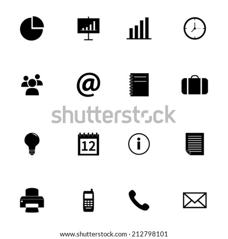 Set of flat icons - office and business - stock vector