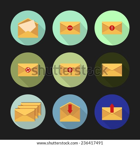 Set of flat icons on a round different color buttons with long shadows for messages. Vector illustration. - stock vector