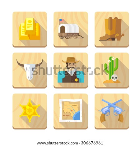 Set of flat icons on the theme of life in the old West. Cowboys. Life in the wild West. The Development Of America. Part one. - stock vector
