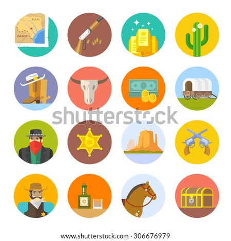 Set of flat icons on the theme of life in the old West. Cowboys. Life in the wild West. The Development Of America. - stock vector