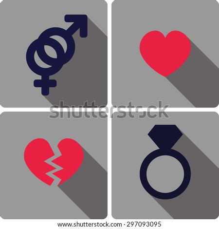 set of flat icons related to love and romance vector illustration - stock vector