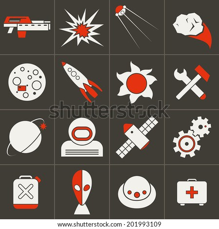 Set of flat icons space. White and red - stock vector