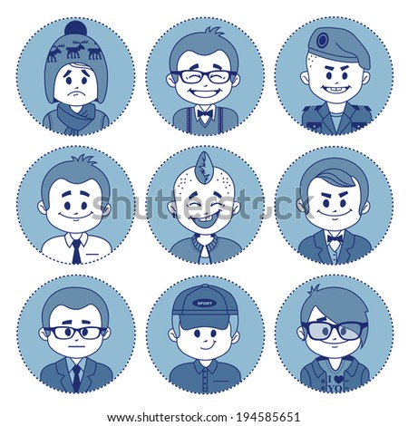 Set of flat icons with characters on blue background. Different professions . Vector illustration - stock vector