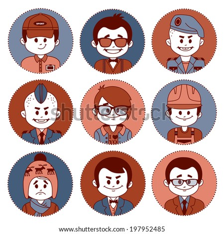 Set of flat icons with characters on white background. Different professions . Vector illustration - stock vector