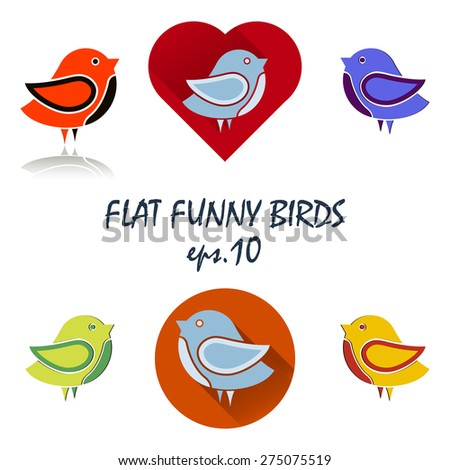 Set of flat icons with funny birds. Vector illustration - stock vector