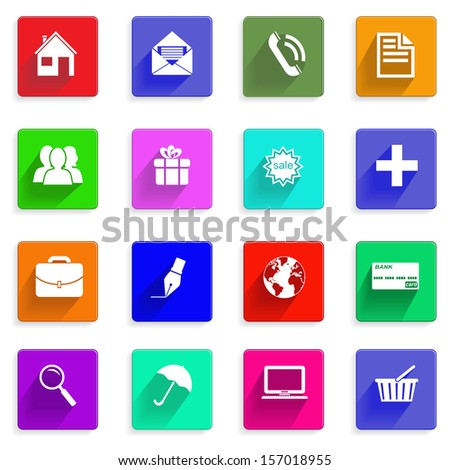 set of flat icons with long shadows: office and business