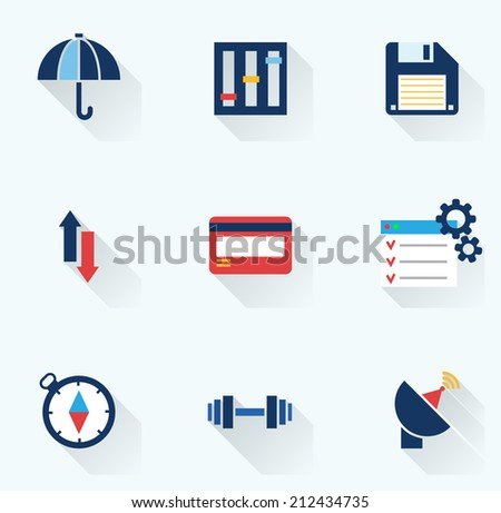 Set of flat icons with long shadows. Vector illustration