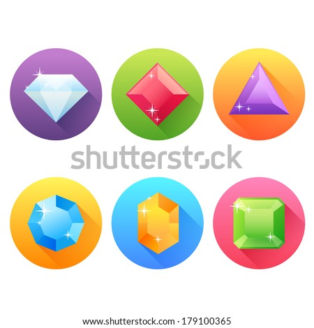 Set of flat icons with precious jewels and gems and drop shadow effect  - stock vector