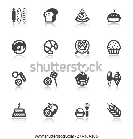 Set of flat icons  with reflection about bakery - stock vector
