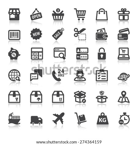 Set of flat icons  with reflection about shopping online - stock vector