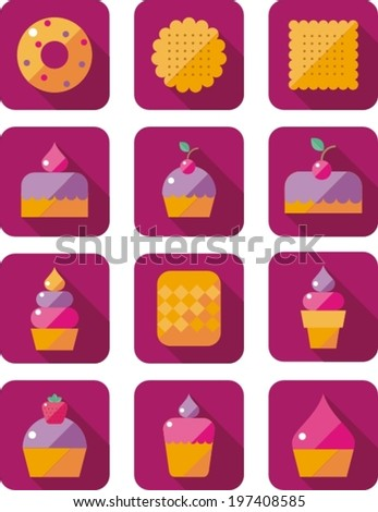 set of flat icons with sweet pastries - stock vector