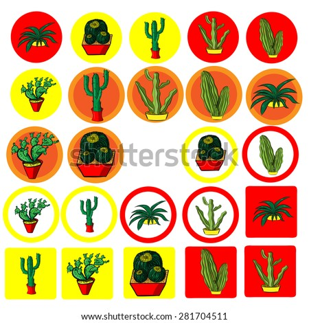 set of flat icons with the image of Mexican cactus - stock vector