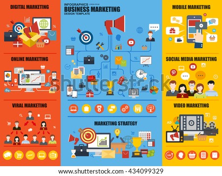 Set of flat infographic business marketing vector design template. Can be used for workflow layout, business process, teamwork, strategy, planning, viral and video marketing, mobile marketing. - stock vector