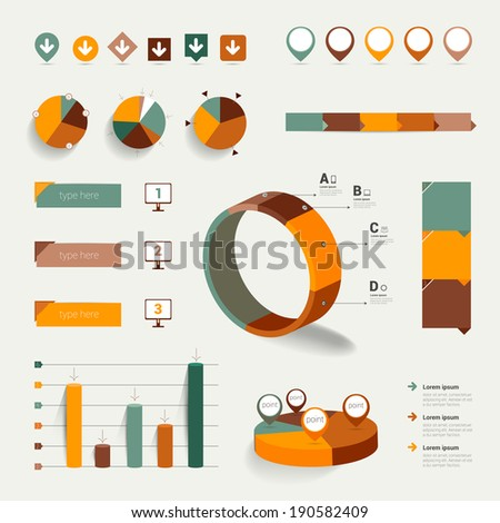 Set of flat infographic elements. Diagrams, speech bubbles, graphs, pie circle charts and icons. Vector shapes.  - stock vector