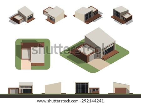 Set of flat isolated house building kit creation, detailed urban and rural house concept design in top, side, front and back elevation view with isometric view from all four angle, vector illustration - stock vector