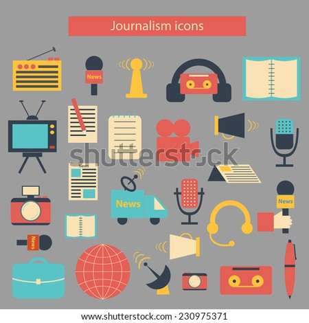 Set of flat journalism icons - stock vector