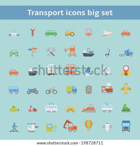 Set of flat land sea and air transportation vehicles icons for web design or infographics elements isolated vector illustration - stock vector