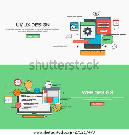 Set of Flat Line Banner Design Concept for UI design and Web Design. Concepts web banner and printed materials.Vector - stock vector
