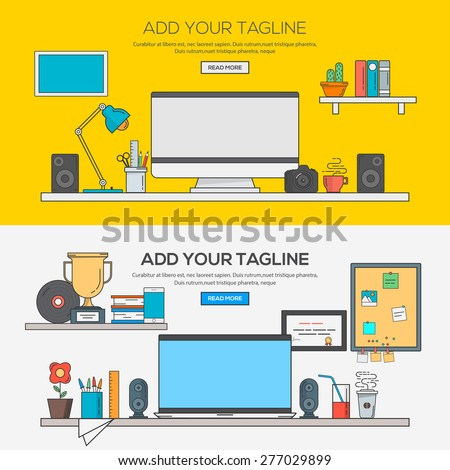 Set of Flat Line Banner Design Concept of modern creative office workspace, workplace with computer. The office of a creative worker. Concepts web banner and printed materials.Vector - stock vector