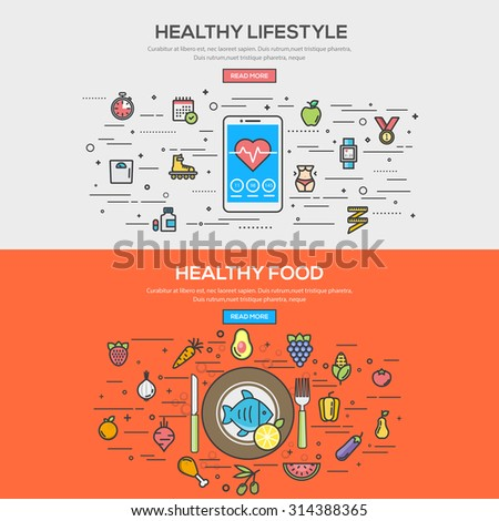 Set of Flat Line Color Banner Design Concept for Healthy Lifestyle and Healthy Food. Vector - stock vector