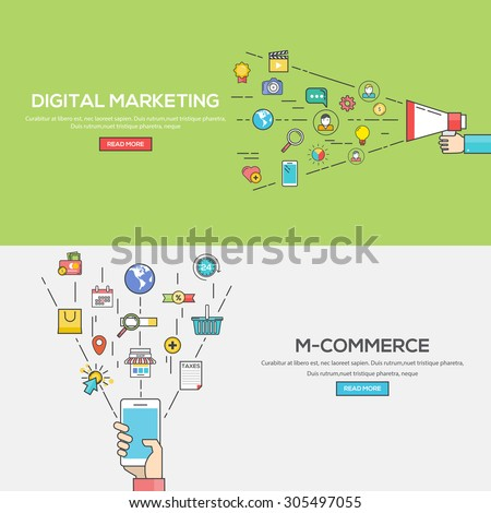 Set of Flat Line Color Banners Design Concept for Digital Marketing and M-Commerce. Concepts web banner and printed materials.Vector - stock vector