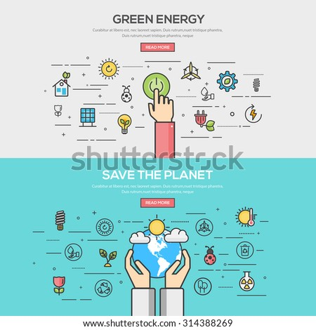 Set of Flat Line Color Banners Design Concept for green energy and save the planet. Vector - stock vector
