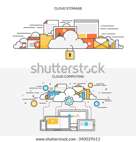 Set of Flat Line Color Banners Design Concepts for cloud storage and Cloud computing. Vector - stock vector