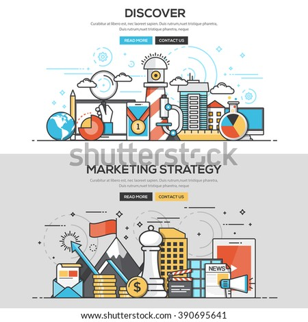 Set of Flat Line Color Banners Design Concepts for Discover and Marketing Strategy.Vector - stock vector