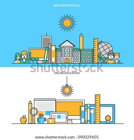 Set of Flat Line Color Banners Design Concepts for Education for all and Online Education. Concepts web banner and printed materials.Vector - stock vector