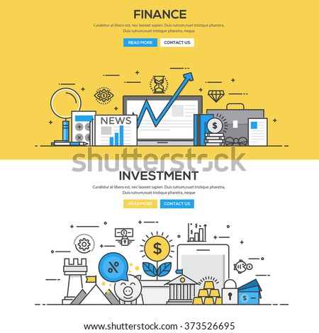 Set of Flat Line Color Banners Design Concepts for Finance and Investment. Vector - stock vector