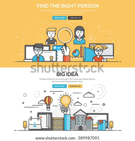 Set of Flat Line Color Banners Design Concepts for Find the Right People and Big Idea. Vector
