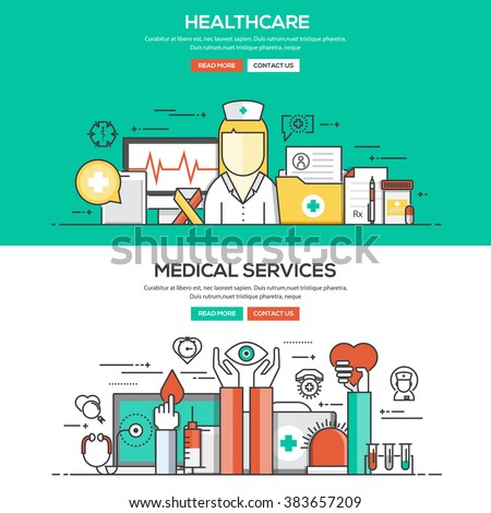 Set of Flat Line Color Banners Design Concepts for Healthcare and Medical Services. Vector - stock vector