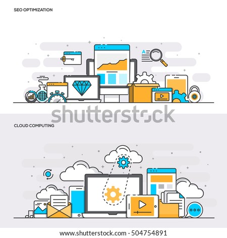 Set of Flat Line Color Banners Design Concepts for SEO Optimization and Cloud Computing. Concepts web banner and printed materials. Vector Illustration