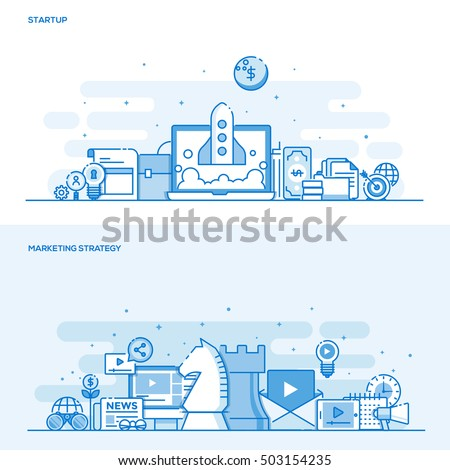 Set of Flat Line Color Banners Design Concepts for Startup and Marketing Strategy. Concepts web banner and printed materials. Vector Illustration
