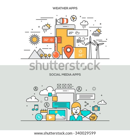 Set of Flat Line Color Banners Design Concepts for Weather apps and Social Media apps. Vector - stock vector