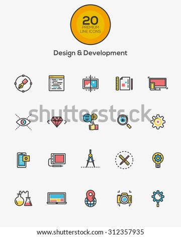 Set of Flat Line Color Design and Development icons. Vector - stock vector