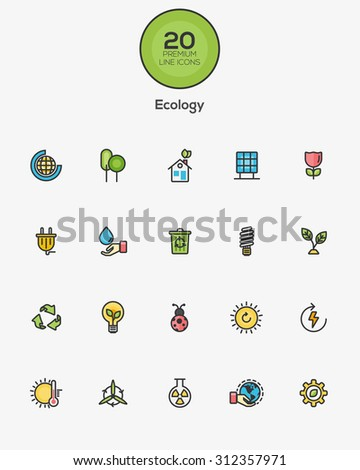 Set of Flat Line Color Ecology icons. Vector - stock vector