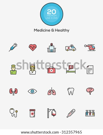 Set of Flat Line Color Medicine and Healthy icons. Vector - stock vector
