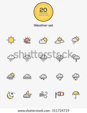 Set of Flat Line Color Weather icons. Vector - stock vector