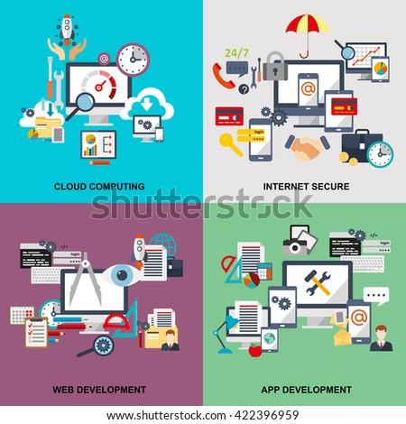 Set of flat line concept of cloud computing, internet secure, web development, apps development, cloud tehnology, devices connected onto cloud data storage. Web design, marketing, and graphic design. - stock vector