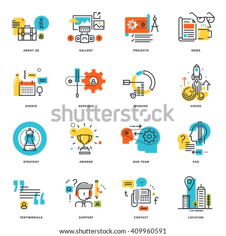 Set of flat line design business icons. Vector illustration concepts for graphic and web design and development, isolated on white. - stock vector