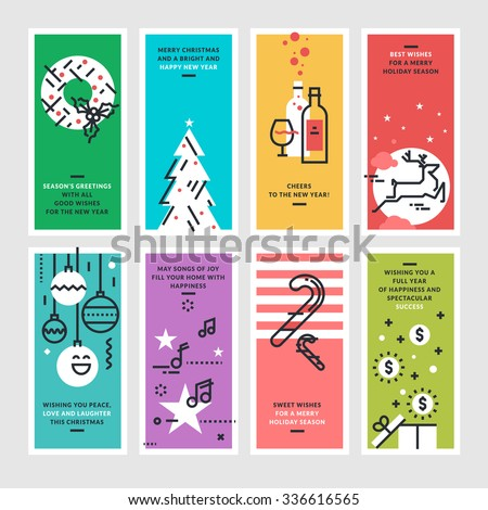 Set of flat line design Christmas and New Year's greeting cards. - stock vector