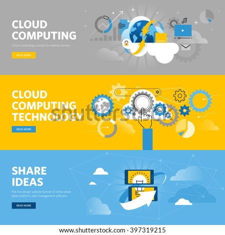 Set of flat line design web banners for cloud computing, online share ideas platform. Vector illustration concepts for web design, marketing, and graphic design. - stock vector