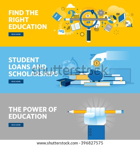 Set of flat line design web banners for education, student loans, scholarships, choice of education and profession. Vector illustration concepts for web design, marketing, and graphic design. - stock vector