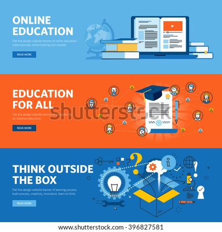 Set of flat line design web banners for online education. Vector illustration concepts for web design, marketing, and graphic design. - stock vector