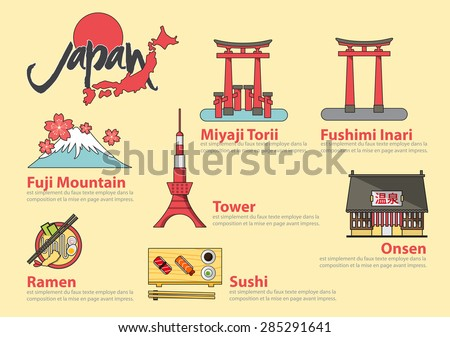 Set of flat line icon and infographic element design . The Japanese letters mean Onsen (hot spring). Concept Japan travel.  Vector Illustration  - stock vector